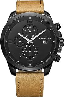 Brismassi Esetti Wrist Watch Men's Minimalist Analog Quartz Leisure Business Wristwatches Chronograph Date Genuine Leather Strap 22mm Band
