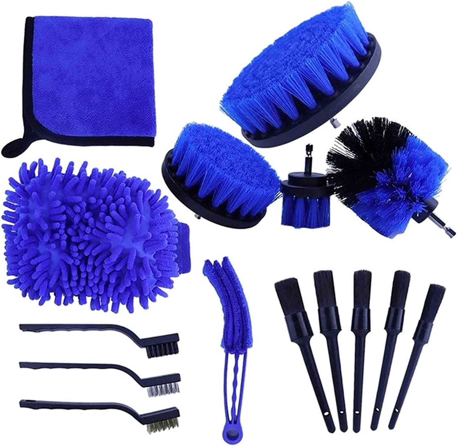 YXIUER 15 Pcs shipfree Auto Detailing depot Brush Colo for Kit Wheels Cleaning