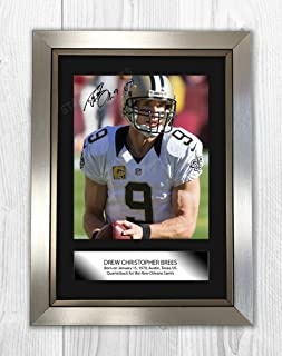 Drew Brees New Orleans Saints Signed Autograph Reproduction Photo A4 Print (Silver Frame)