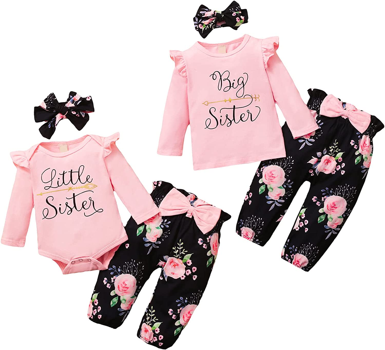 Baby Girls Sister Matching Outfits Little Sister Big Sister Ruffle Long Sleeve Romper Top Floral Pants Set + Headband 3Pcs