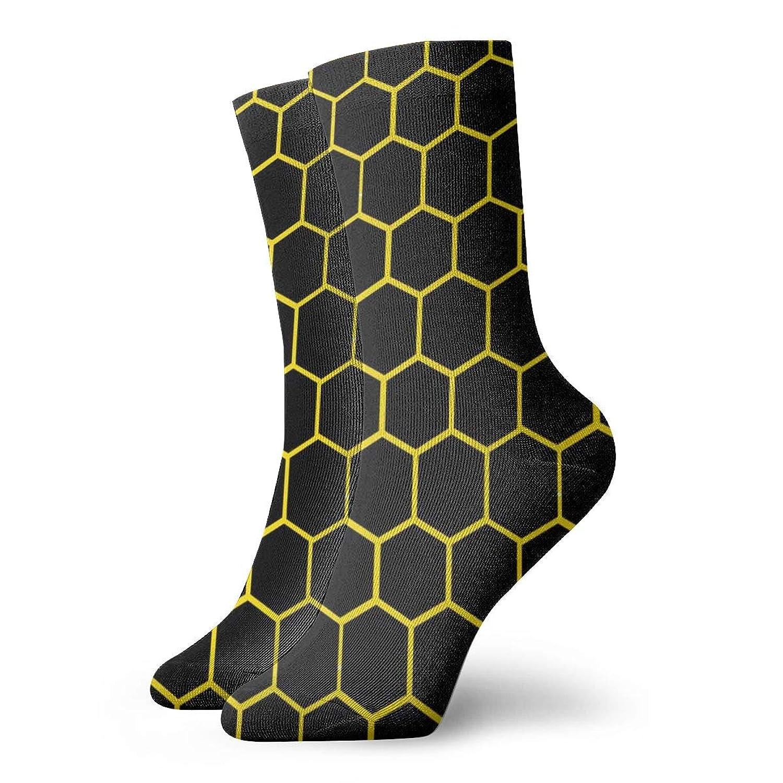黒と黄色の蜂の巣ハニカム六角形おしゃれなカラフルなファンキー柄コットンドレスソックス11.8インチ