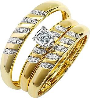Dazzlingrock Collection 0.15 Carat (ctw) 10K Round White Diamond Men & Women's Engagement Ring Trio Set, Yellow Gold