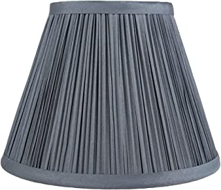 Urbanest Mushroom Pleated Softback Lamp Shade, Faux Silk, 5-inch by 9-inch by 7-inch, Gray, Spider-Fitter