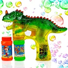 Dinosaur Bubble Shooter for Kids, Leegoal Dinosaur Bubble Shooter Gun Blaster with LED Flashing Lights and Sounds Dinosaur Toys 2 Bubble Bottles Included for Boys and Girls