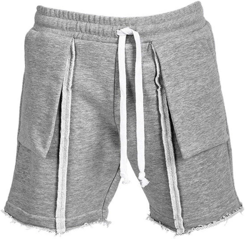 Jubaton Mens Regular-fit Distressed Casual Sports Shorts Trendy Striped Stitching