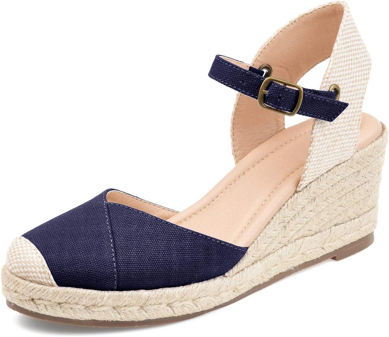 LAICIGO Women's Espadrilles Wedge Max 89% OFF Sandals St Alternative dealer Ankle Cap Toe