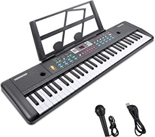 RenFox 61-Key Electric Piano Keyboard with Microphone &a