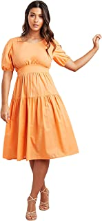 Solid Tiered Midi Women's Dress with Tie-Up Back Closure