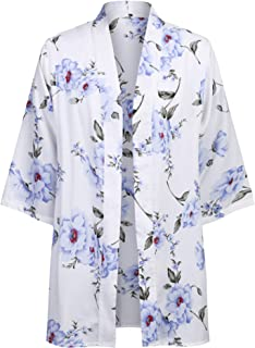 Mens Kimono Cardigan Floral Print Casual Lightweight Long Length Cape