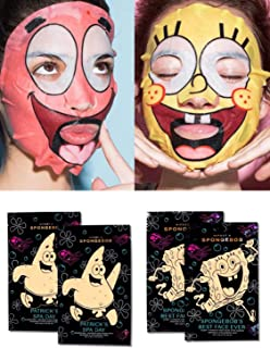 HIPDOT X Best Friends Sheet Mask 4 Pack! 2 SpongeBob and 2 Patrick's Faces Sheet Mask! Formulated With Hyalauronic Acid, Marine Protein & Red Algae! Vegan, Cruelty Free And Paraben Free!