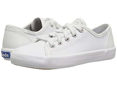 Keds Kids Kickstart Core (Little Kid/Big Kid) (White Leather) Girls Shoes