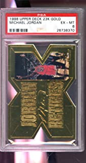 1998-99 1999 Upper Deck 23k Gold Retires Michael Jordan Insert NBA PSA 6 Graded Basketball Card
