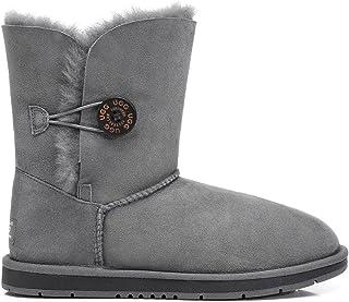 UGG Boots Short Button Premium Australian Sheepskin Womens Mens Shoes Grey