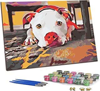 """PJCSEC DIY Paint by Numbers for Adults Kids, Canvas Oil Painting Kit for Beginner, Meaningful Gift - Dog's Gaze (16"""" x 20"""")"""