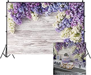 LFEEY 5x3ft Newborn Baby Wooden Plank Photography Backdrops Purple Lilac Flowers Bloom Bouquet Wooden Wall Girls Adults Portrait Photo Background Parties Events Decor Wallpaper Photo Studio Props