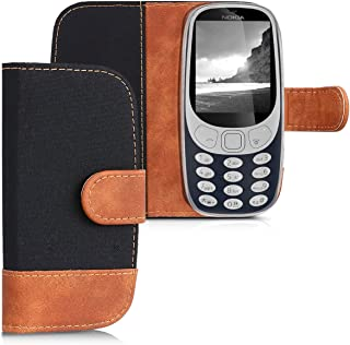 kwmobile Wallet Case for Nokia 3310 3G 2017 / 4G 2018 - Fabric and PU Leather Flip Cover with Card Slots and Stand - Black/Brown