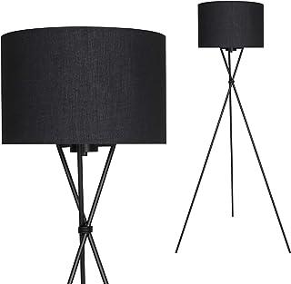Briloner Leuchten Lampadaire intérieur moderne en métal avec abat-jour noir – Douille E27, 60w max. – Lampe au sol pour le...