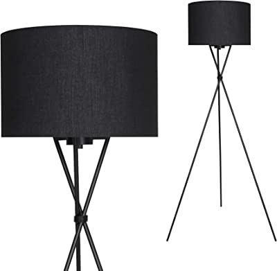 Briloner Leuchten Lampadaire intérieur moderne en métal avec abat-jour noir – Douille E27, 60w max. – Lampe au sol pour le salon ou la chambre à coucher