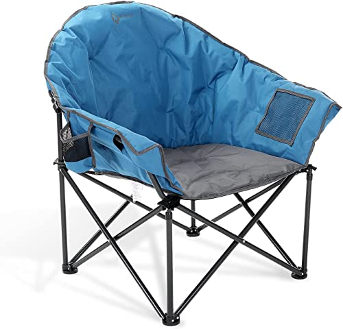 high quality ARROWHEAD OUTDOOR Oversized Heavy-Duty Club Folding Camping Chair w/External sale outlet sale Pocket, Cup Holder, Portable, Padded, Moon, Round, Saucer, Supports 330lbs, Carrying Bag, USA-Based Support online sale