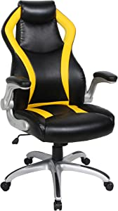 VIVA Chair High Back with Flip-Up Armrest Office Chair, Black/Yellow