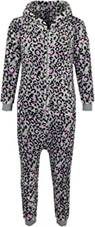 Kids Boys Girls Soft Fluffy Animal Leopard Pink & Grey A2Z Onesie One Piece Xmas Costume 2-13 Y