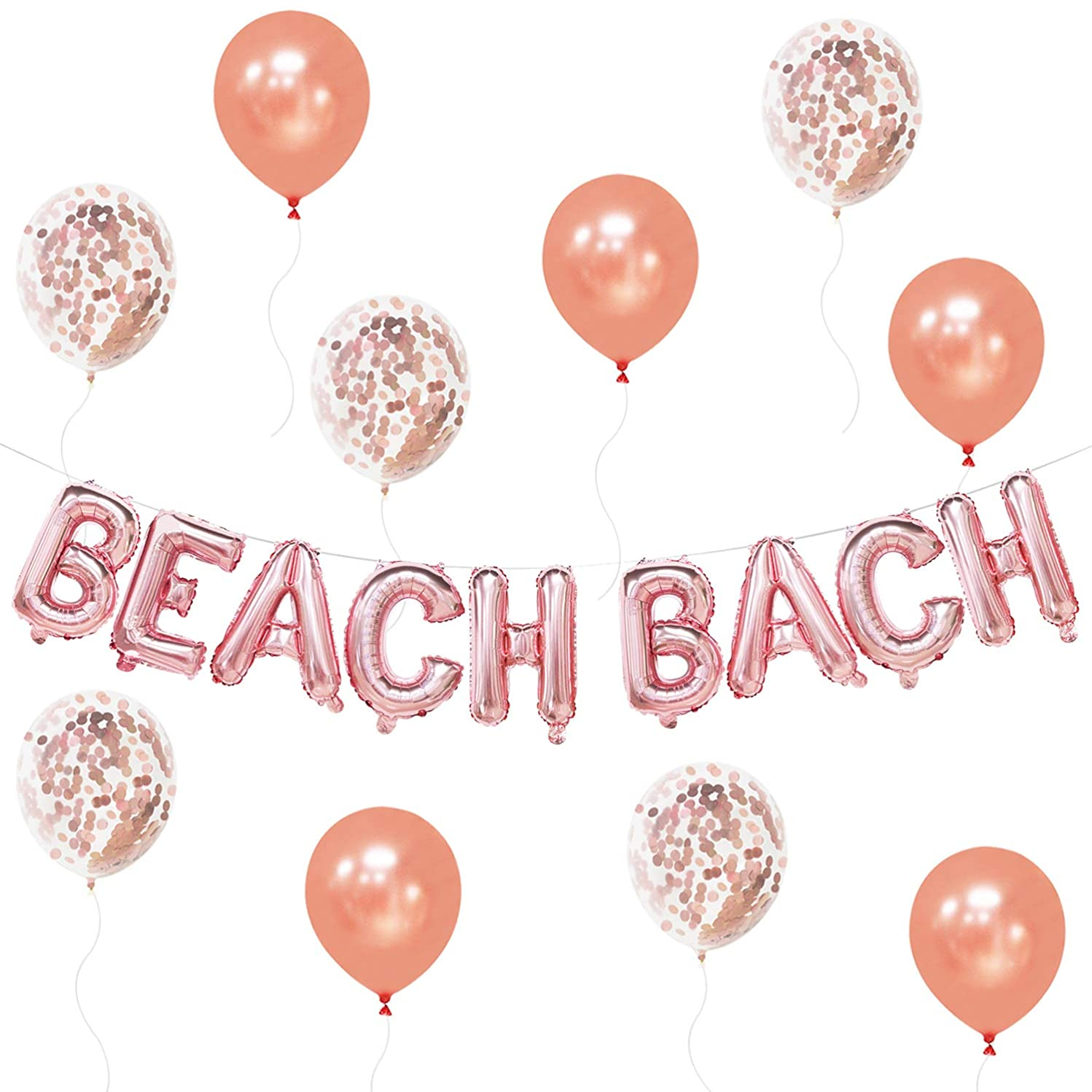 Beach Bach Balloons Banner - Beach Bachelorette Party Decorations - Beach Party Balloons - Extra Rose Gold Confetti Balloons and Latex Balloons