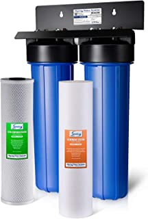 """iSpring WGB22B 2-Stage Whole House Water Filtration System w/ 20"""" x 4.5"""" Big Blue Fine Sediment and Carbon Block Filters - Reduces up to 99% Chlorine"""