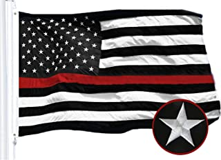 G128 - Thin Red Line Embroidered U.S. American Flag 3X5 FT Brass Grommets Honoring Fire Fighters EMTs Black White Red US Flag