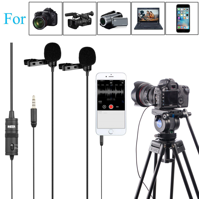 BOYA BY-M1DM Micrófono de solapa universal Lavalier de doble ...