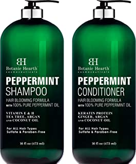 BOTANIC HEARTH Peppermint Oil Shampoo and Conditioner Set - Hair Blooming Formula with Keratin for Thinning Hair - Fights ...