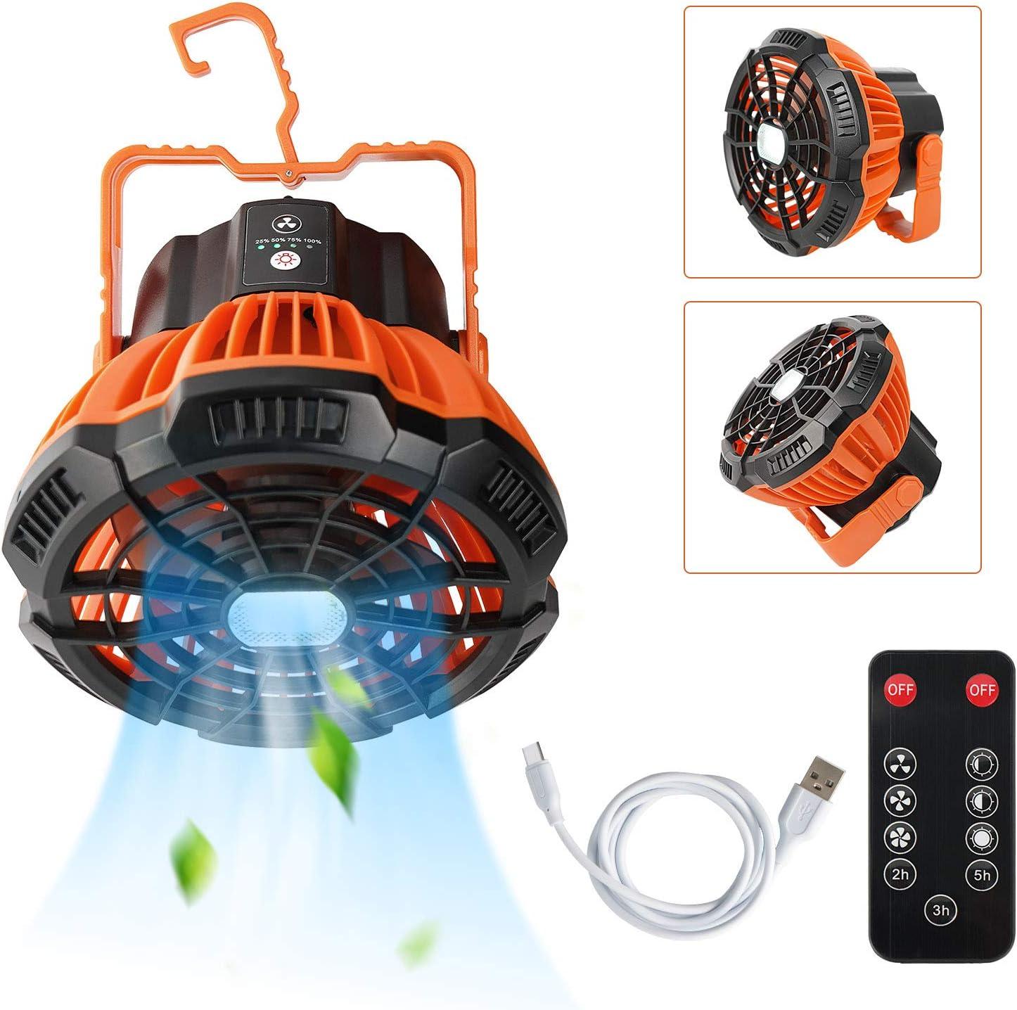 Ventilador Portátil Ultra Silencioso, 5200mAh USB Recargable Ventilador Camping con Iluminación LED, para Hogar Exterior Oficina Camping Viajes Carpas