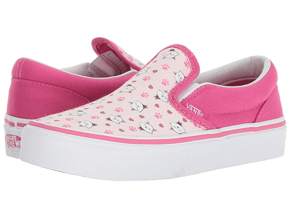 Vans Kids Classic Slip-On (Little Kid/Big Kid) ((Ditsy Kitty) True White/Heavenly Pink/Magenta) Girls Shoes