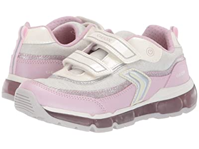Geox Kids Android Girl 21 (Little Kid/Big Kid) (White/Pink) Girl