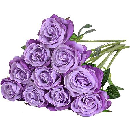 Lot De 12 Artificiel Roses Rouges-Fleurs 8 cm avec feuilles vertes-Craft