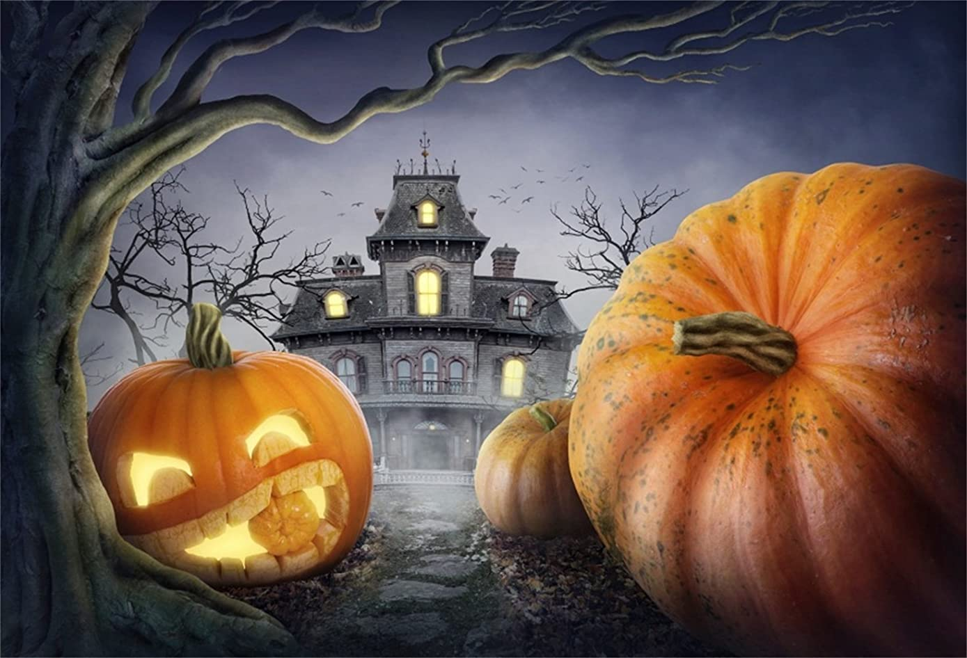 Laeacco Halloween Theme Backdrop 7x5ft Vinyl Photography Background Fairytale Haunted Castle Cute Pumpkin Lamp Decayed Tree Crow Scene Trick or Treat Party Greeting Card Kids Baby Shoot Childishness