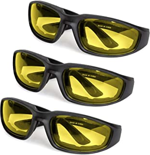 3-Pack Motorcycle Glasses – Foam Padding – Anti-Wind & Dust – Polycarbonate Lens (Yellow)