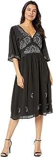 Lucky Brand Women's Embroidered Flutter Sleeve Dress