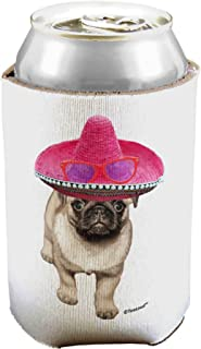 TooLoud Pug Dog with Pink Sombrero Can/Bottle Insulator Cooler - 2 Pack