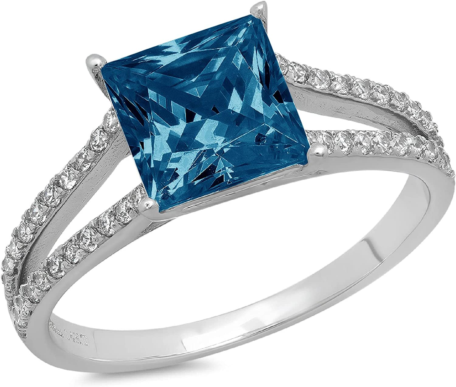 2.42 ct Princess Cut Solitaire Accent split shank Genuine Flawless Natural London Blue Topaz Gemstone Engagement Promise Statement Anniversary Bridal Wedding Ring Solid 18K White Gold