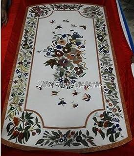 Gifts And Artefacts Table de salle à manger en marbre blanc 30 x 60 cm