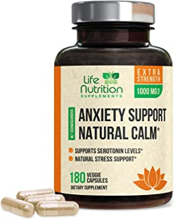 Stress Support Supplement 1000mg - Natural Herbal Formula with Ashwagandha, 5-Htp, GABA, L-Theanine, Rhodiola Rosea - Made...