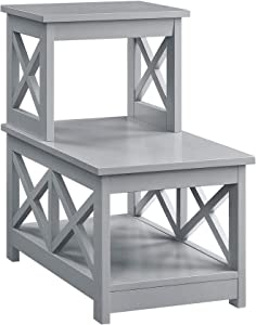 Convenience Concepts Oxford 2 Step Chairside End Table, Gray