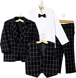 Jeet Creation Boys Black Coat Suit with Waistcoat, Shirt, Bow and Trouser Set (9048ERH)
