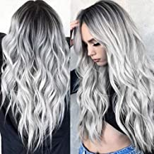 Lemoning Sexy Gradient Gray Party Wigs Long Curly Hair Mixed Colors Synthetic Wig