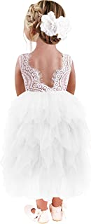 Girl Peony Lace Back A-Line Tiered Tutu Tulle Flower Girl Dress