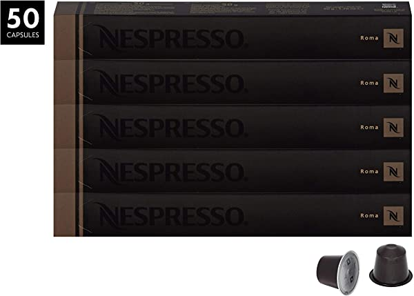 Nespresso OriginalLine Roma Capsules 50 Count Espresso Pods Light Roast Intensity 8 Blend Central South American Arabica With Robusta Coffee Flavors