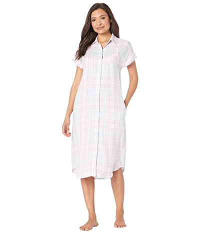 LAUREN Ralph Lauren Rayon Twill Woven Short Sleeve Dolman His Shirt Ballet Sleepshirt (Multi Plaid) Women