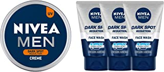 NIVEA Men Creme, Dark Spot Reduction Cream, 75ml & Nivea Dark Spot Reduction Face Wash, 100ml (Pack of 3)