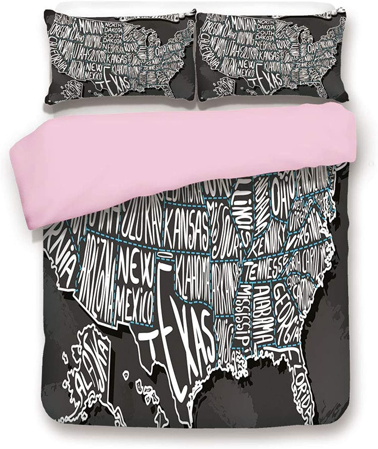 Pink Duvet Cover Set,Full Size,American Towns Calligraphy Style City Geography National Artistic Print,Decorative 3 Piece Bedding Set with 2 Pillow Sham,Best Gift for Girls Women,Charcoal Grey White