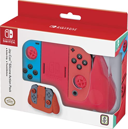 Officially Licensed Nintendo Switch Joy-Con Action Pack Grip and Thumb Buttons – Neon Red Textured Silicone